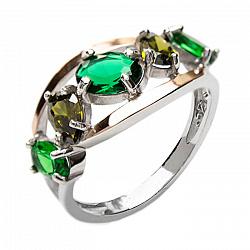 Серебряное кольцо с золотыми накладками, зелеными альпинитами и фианитами 000088824