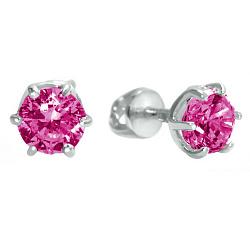 Серебряные пуссеты Болеро с розовым цирконием