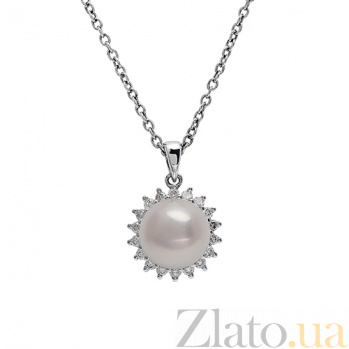 Золотой подвес с жемчугом и бриллиантами Селина 1П193-0153