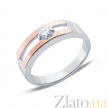 Серебряное кольцо с золотыми вставками и цирконом Лидия AQA--002К Цр