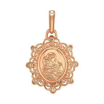 Ладанка з червоного золота Володимирська Божа Матір з фіанітами 000063842
