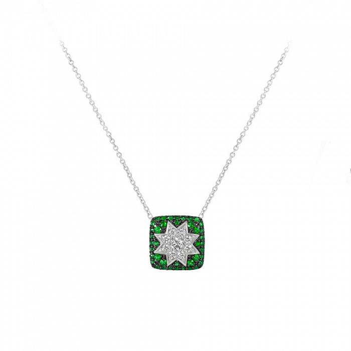 Колье из белого золота Звезда эльфов с бриллиантами и цаворитами 000081280