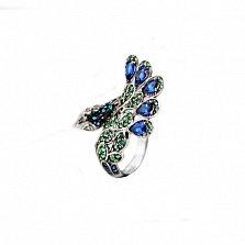 Серебряное кольцо Павлин с разноцветными фианитами