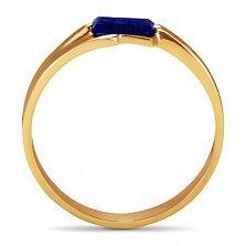Золотое кольцо Шенон с синтезированным сапфиром