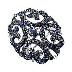Кольцо в комбинированном цвете золота с сапфирами и бриллиантами 000136625