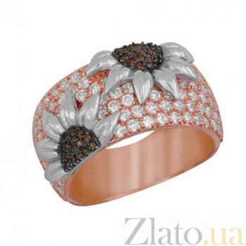 Кольцо из красного и белого золота Подсолнухи с фианитами VLT--ТТ1018-4