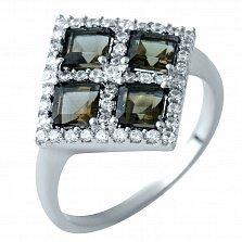 Серебряное кольцо Атанаис с раухтопазом и фианитами