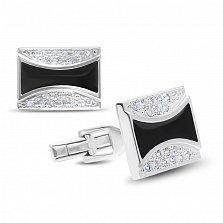 Серебряные запонки Грег с белыми фианитами и черной эмалью