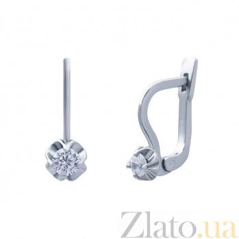 Серебряные серьги с куб. цирконом Цветок AQA--ПС-005б