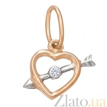 Золотая подвеска Сердце со стрелой SVA--3170871-2/Фианит/Цирконий