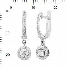 Серьги-подвески из белого золота Николет с бриллиантами