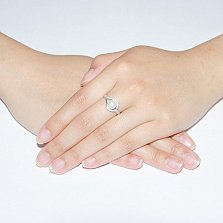 Серебряное кольцо Мия с белым жемчугом и цирконием