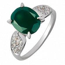 Серебряное кольцо с агатом и фианитами Нежность