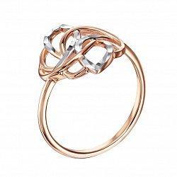 Золотое кольцо в комбинированном цвете с алмазной гранью 000135761