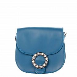 Кожаный клатч Genuine Leather 1628 светло-синего цвета с декоративной брошкой на клапане 000092440