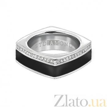 Золотое кольцо в белом цвете с бриллиантами и эмалью Утро и вечер 000029649