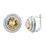Серебряные серьги с желтым кварцем Солнце