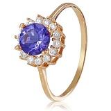 Золотое кольцо с иолитом и фианитами Марина