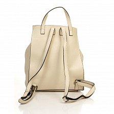 Кожаный рюкзак Genuine Leather 6202 бежевого цвета с металической застежкой на клапане