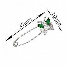 Серебряная булавка Лунный мотылек с зелеными и белыми фианитами
