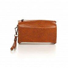 Кожаный клатч-саквояжик Genuine Leather 8057 коричневого цвета с короткой ручкой на запятье