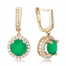 Золотые серьги-подвески София с зеленым ониксом и фианитами