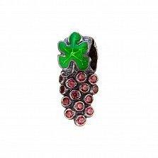 Серебряный кулон-шарм Виноградная гроздь с зеленой эмалью и цирконием