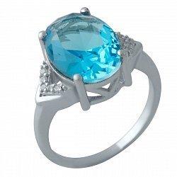 Серебряное кольцо с синтезированным аквамарином и фианитами 000128280