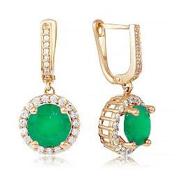 Золотые серьги-подвески с зеленым ониксом и фианитами 000037012