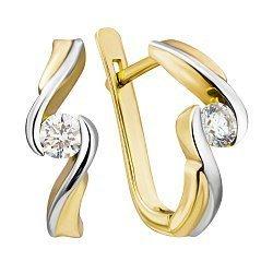 Золотые серьги в комбинированном цвете с бриллиантами 000022021