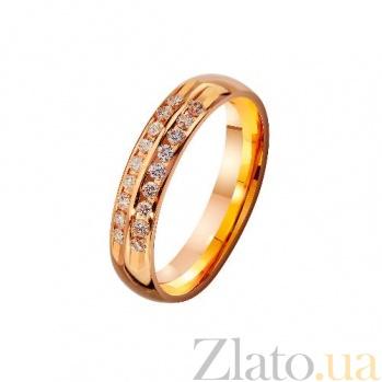 Золотое обручальное кольцо Верность традициям с фианитами TRF--4121211
