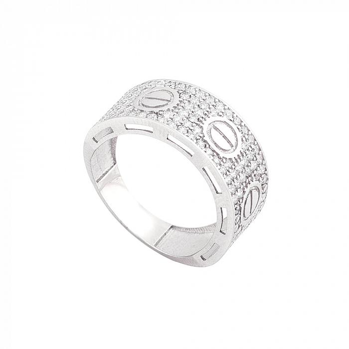 Золотое родированное кольцо Симона в белом цвете с белыми фианитами в стиле Картье  000082364