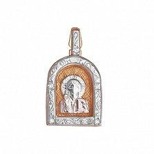 Серебряная ладанка Покровитель с позолотой