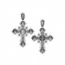 Серебряный крест Иисус из Назарета в образах с чернением