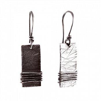 Cеребряные серьги-подвески Lentus с чернением 000091466
