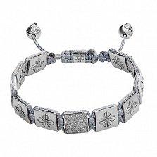 Серый текстильный браслет Шамбала с квадратными бусинами и кристаллами Swarovski