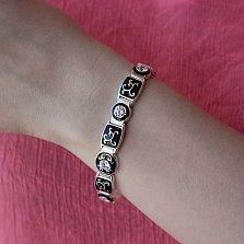 Серебряный браслет Ливия с черной эмалью и кристаллами циркония