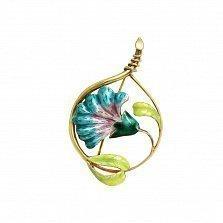 Серебряная брошь Волшебный цветок с цветной эмалью