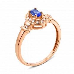 Кольцо из красного золота с сапфиром и фианитами 000135214