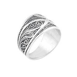 Серебряное кольцо с фактурной шинкой 000061291
