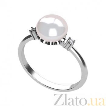Золотое кольцо с жемчугом и фианитами Миранда в белом цвете 000032800