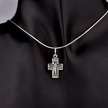 Серебряный крестик Вечная жизнь с чернением