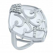 Серебряное кольцо Восток с кварцем и фианитами