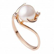 Золотое кольцо с жемчугом и фианитами Маккэнзи