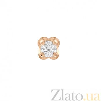 Серьга-пуссета из красного золота Тюльпан с фианитом 000023038