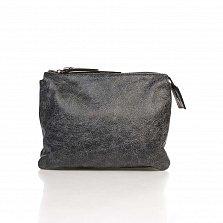 Кожаный клатч Genuine Leather 6564 черного цвета с плечевым ремнем и двумя отделами