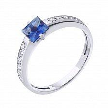 Золотое кольцо с бриллиантами и сапфиром Далида