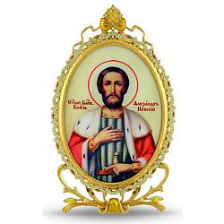 Серебряная икона с позолотой и желтыми фианитами Александр Невский 000004146