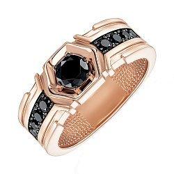 Перстень-печатка из красного золота с черными фианитами 000137513