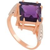 Золотое кольцо Афият с неодимовым стеклом и фианитами